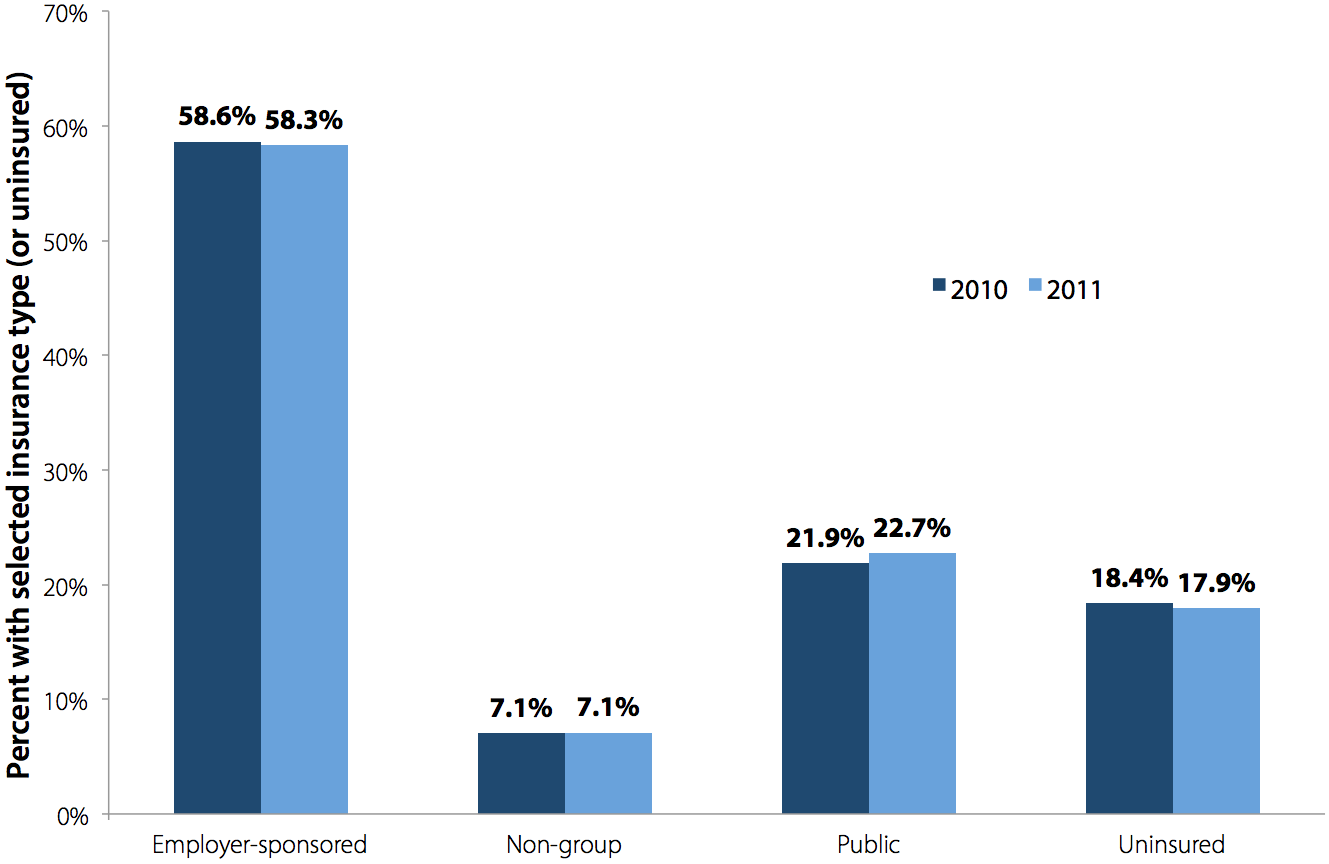 Health insurance by type of coverage, under 65 years old, 2010–2011