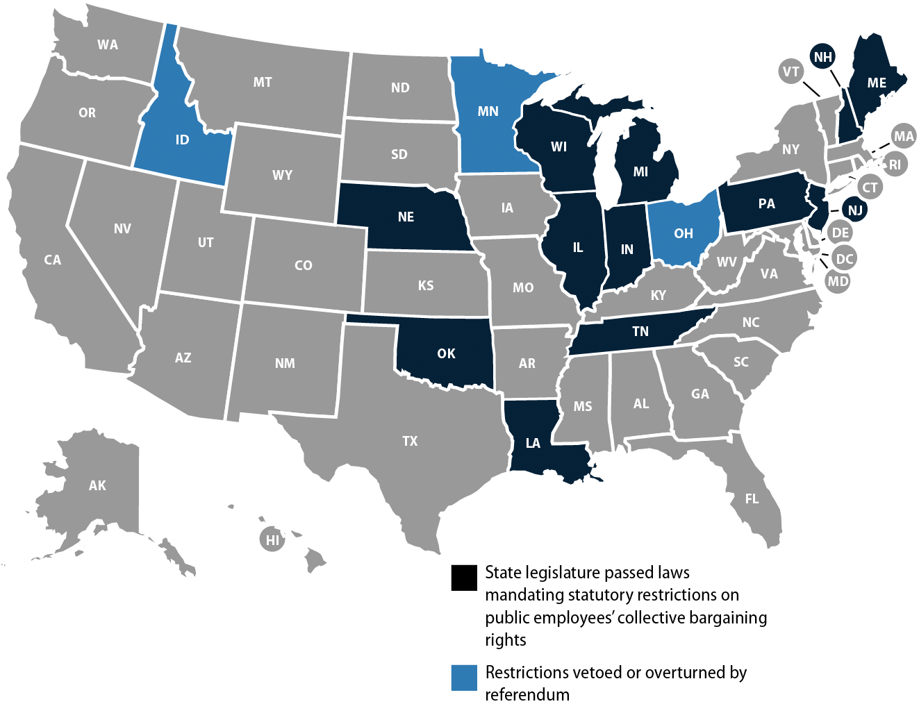 States that passed laws mandating permanent, statutory restrictions on public employees' collective bargaining rights, 2011–2012