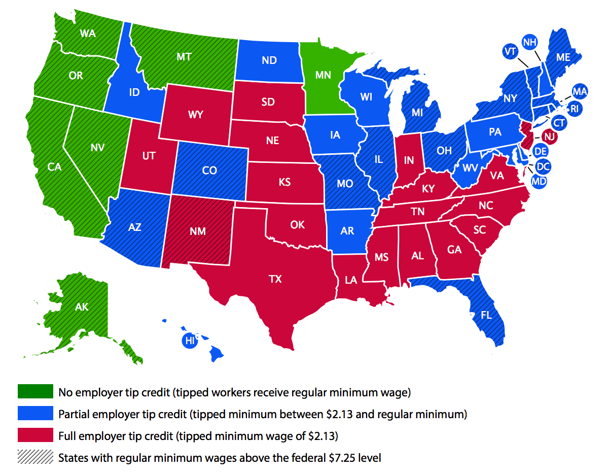 Tipped minimum wage and regular minimum wage levels, by state, 2014