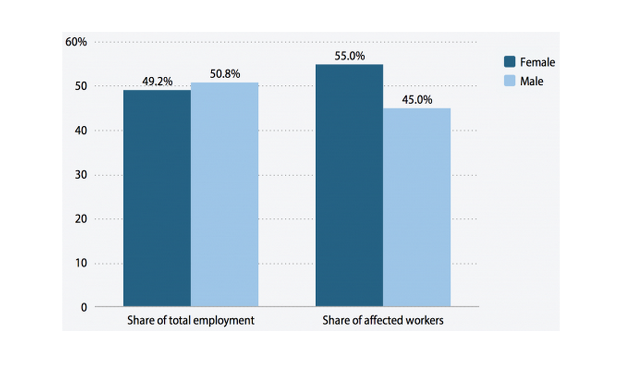 Gender distribution of workers affected by raising the federal minimum wage to $10.10 by July 2016, and of total employment