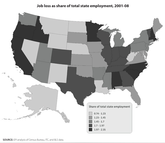 Map of U.S. job loss