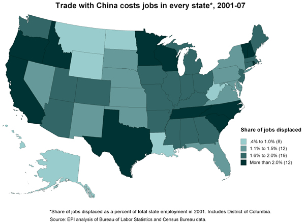 Trade with China costs jobs in every state*, 2001-07