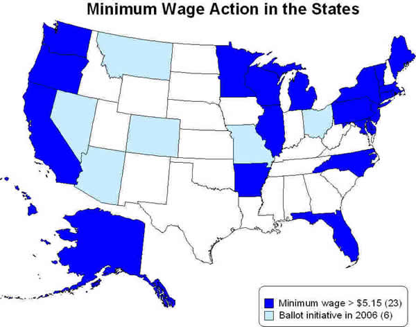 Minimum wage action in the states