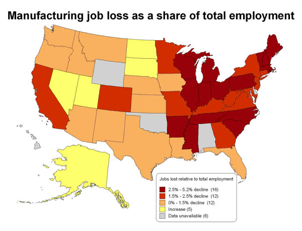 Manufacturing job loss as a share of total employment