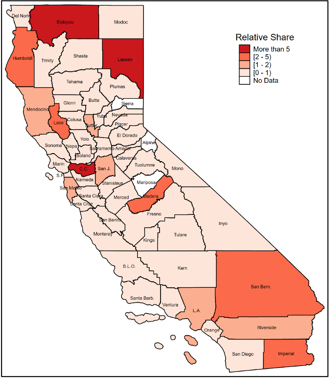 Ratio of California county share of federal employment law violations detected by the Wage and Hour Division among agricultural employers to the share of agricultural employment in the county, fiscal years 2005–2019