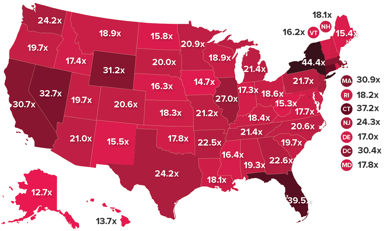 Depending on the state, the average top 1-percenter makes between 12.7 and 44.4 times more each year than the average bottom 99-percenter